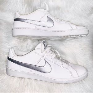 Other - White and Silver Nike Court Royale Shoes